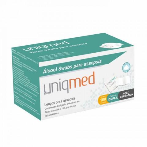 Swab Álcool Pads para Assepsia Uniqmed com 100 unidades